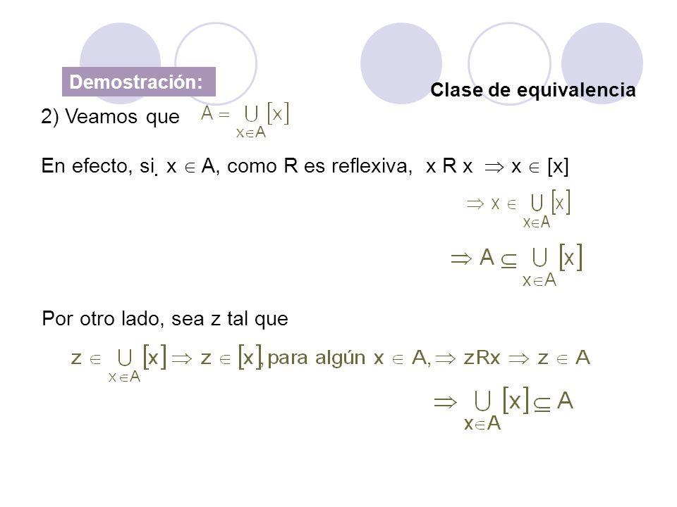 En efecto, si x  A, como R es reflexiva, x R x  x  [x]